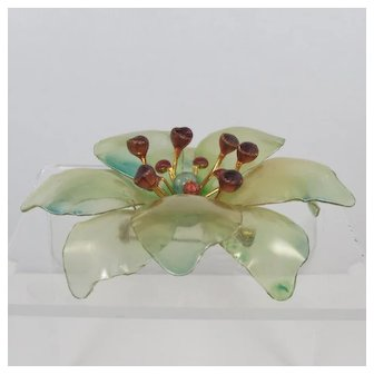 Cellulose Acetate Flower Brooch ~ Green and Red ~ Vintage