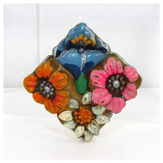 Japan Celluloid Flowers Brooch ~ Blue, Pink, Orange & White ~ Vintage