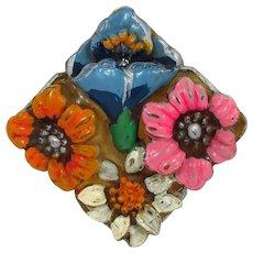 Japan Celluloid Flowers Brooch ~ Blue, Pink, Orange & White ~ Vintage