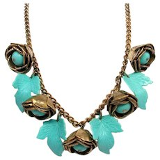 Gorgeous! 1930-40s Brass Roses Necklace With Aqua Celluloid Leaves