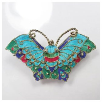 c1900 Chinese Kingfisher Feathers Moth / Butterfly Brooch