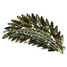 JULIANA ~ 6 Tiers ~ Large Rhinestone Leaf Brooch ~ Dimensional ~ Vintage