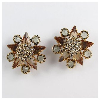 SCHREINER ~ Scatter Pins!! ~ Dimensional Brooches With Domed Clusters