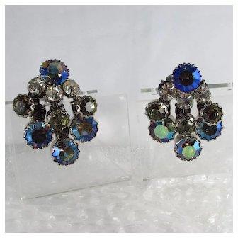 Dangle / Chandelier Vintage Earrings ~ Large Rhinestones ~ Dimensional