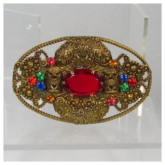 Art Deco Czech Brass Brooch ~ Ornate, Red Glass, Multicolor Rhinestones