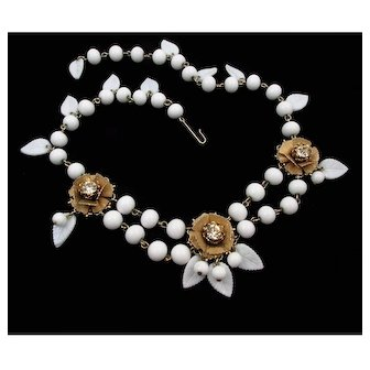 1940s Swag Necklace ~ Molded Glass Leaves &  Beads ~ Rhinestone Rosettes