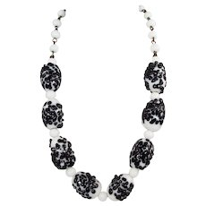 White Glass Beads Necklace With Applied Black Glass Sprinkles ~ Vintage