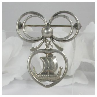 Denmark Sterling ~ Carl Ove Frydensberg ~ Viking Ship Heart Brooch ~ Vintage