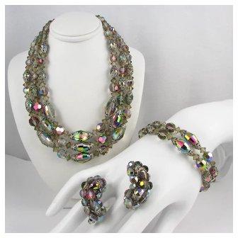 Parure ~ Vitrail & Gray ~ Vintage 3-Strand Necklace, Bracelet, Earrings