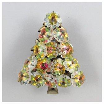 Margarita Christmas Tree Brooch ~ Swarovski ~ Mid Century ~ Book Piece