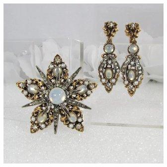 Ornate ART Brooch & Earrings Set ~ Opalescent Glass ~ Openwork Metal