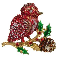 Red Enamel Bird Brooch ~ Snow, Holly & Pine Cone Figural ~ Vintage