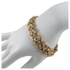 Monet Bracelet ~ Flexible Textured Gold-tone Geometric Links ~ Vintage