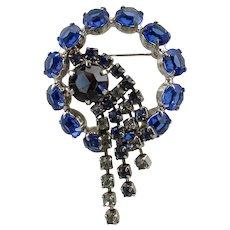 Rhinestone Dangles Brooch ~ Shades of Blue ~ 1950s-60s