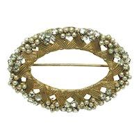MIRIAM HASKELL Brooch ~ Rose Montees, Faux Seed Pearls