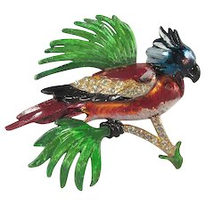 Large Enamel Bird Brooch ~ Designer ~ c1940s ~ Gorgeous!