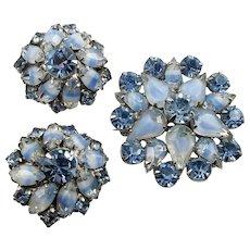 Blue Givre Glass & Rhinestones Set ~ 1950s Brooch & Earrings ~ Vintage