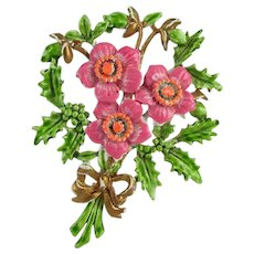 By EXQUISITE ~ Pink Enameled Christmas Rose Brooch ~ White Back ~ 1940s-50s