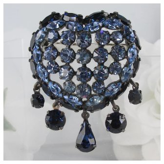 Heart Brooch ~ Dangles ~ Cornflower & Sapphire Blue Rhinestones ~ 1950s