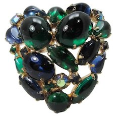 Heart Brooch ~ Glass Cabochons ~ Blue and Green ~ Vintage