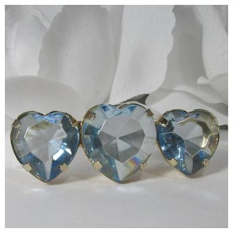 Heart-Shaped Glass Stones Brooch ~ Unfoiled & Open-Backed Faceted Glass