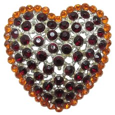 Domed Heart Brooch ~ Red and Orange Rhinestones ~ 1960s
