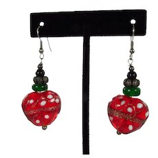 Dimensional Glass Heart / Strawberry Pierced Earrings ~ 1990s Vintage