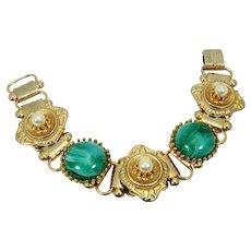 Book Chain Bracelet ~ Victorian Revival ~ Faux Malachite & Faux Pearls