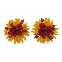 Orange & Red Earrings ~ Spiky Flower-Burst ~ Vintage Plastic Beads