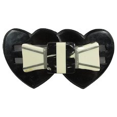 1930s Hearts & Bow Celluloid Brooch With Cut-Outs ~ Two Tiers