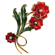 1940s Enamel & Poured Plastic Flower Brooch ~ Huge & Gorgeous!