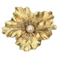 BOUCHER Ruffled Flower Brooch ~ Rhinestones & Faux Pearl ~ Satin Finish