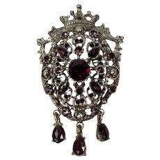 c1940 Crown & Shield Pin / Pendant ~ Garnet-Red Rhinestones & Dangles