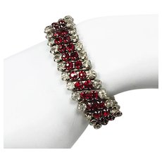 4 Row Red & Clear Rhinestone Expansion Bracelet ~ Stainless Steel