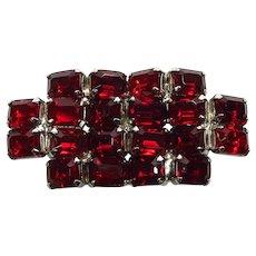 Lg Red Emerald-Cut Glass Stones ~ Geometric ~ Angle-Set ~ Mid-Century