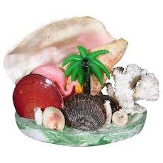 Conch Shell Flamingo Palm Tree Tropical Scene Lamp ~ Mid-Century Kitsch