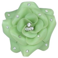 Green Cellulose Acetate Flower Brooch Dotted With Rhinestones ~ 1930-40