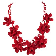 1930s Celluloid Red Roses Necklace ~ Rare & Lovely ~ Dimensional Flowers