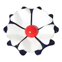 Patriotic Enamel Flower Brooch ~ Red, White and Blue ~ 1960s Mod