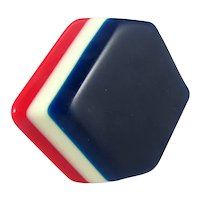 Patriotic Laminated Celluloid Brooch ~ Red, White and Blue ~ 1930s-40s