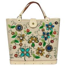 Enid Collins Original Jewel Garden Canvas Bucket Bag ~ Jeweled Flowers