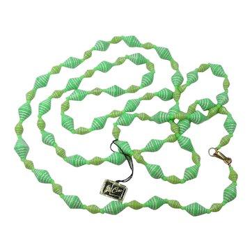 Coro Beads ~ Shades of Green 54 Inches ~ 60s Vintage Hang Tag