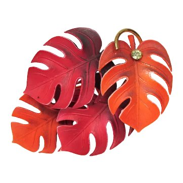 West Germany Brooch ~ Red & Orange Leaves ~ Dimensional ~ Mid-Century