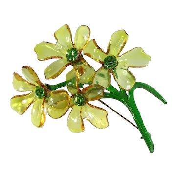Lemon-Lime Cellulose Acetate & Enamel Flower Brooch ~ Green Rhinestones