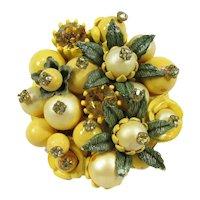 Flower Brooch ~ Rhinestone-Studded & Enameled Beads ~ Lush, Dimensional