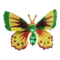 Enamel Butterfly Brooch Coated With Glass Beads ~ Peridot Rhinestones