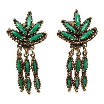 Celebrity Chandelier Earrings ~ Faux Jade ~ Vintage Dangles