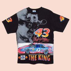 1992 RICHARD PETTY NASCAR T-Shirt ~ Signature Series ~ All-Over Graphic