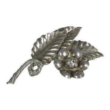 RAFFAELE Handmade Sterling Brooch ~ Flower & Leaves ~ Vintage