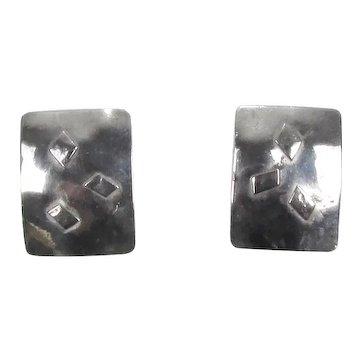Modernist Sterling Earrings ~ Artisan Signed ~ Shepherd Hooks ~ Vintage